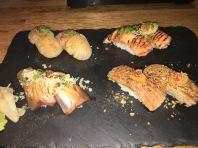 Aburi Sushi (L-R: Yellow Tail, Scallops, Salmon, Otoro)
