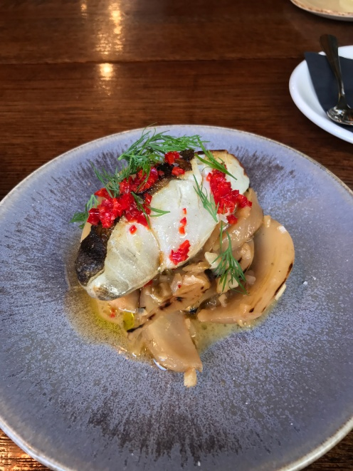 Smoked and Grilled Cornish Cod with Braised Fennel and Chilli