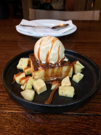 Buttermilk Cake with Apple, Rosemary Caramel and Mascarpone Ice Cream