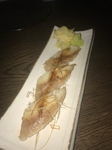 Smoked eel nigiri