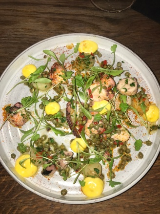 Slow-cooked Octopus, Ratte Potatoes, Lemon, Chilli, Capers and Saffron Aioli