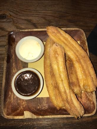 Churros with Cinnamon Sugar, Warm Chocolate Sauce and Mascarpone Cream