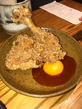 fried chicken chop with soy cured egg